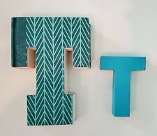 Turquoise Letter T Decor, Cardboard & Wood, Lot of 2