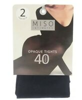 2 PAIR TIGHTS 40 OPAQUE BLACK TIGHTS SIZE SMALL- EXTRA LARGE BY MISO INTIMATES