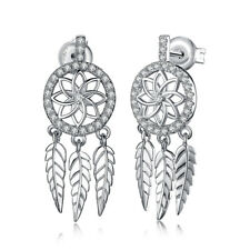 abf7f0f897c5 Jewelrypalace Bohemio Pluma de circonio cúbico 925 Plata Esterlina  Pendientes con Pasador