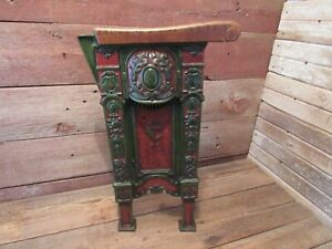 Antique 1927 American Seating COURTHOUSE THEATER CAST IRON SIDE SEAT-LIGHT WORKS