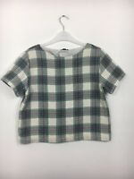 Topshop Cream & Green Check Short Sleeve Boxy Cropped Top Size 12 - B26