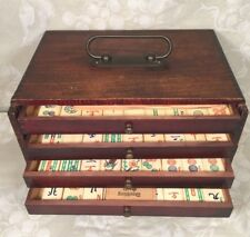 Vintage Mah Jong Set in Wood Case Bone & Bamboo Pieces 5 Drawers Instructions
