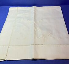 """Vintage / Antique table runner - hand embroidered linen - 24"""" x 23"""" Wedding"""