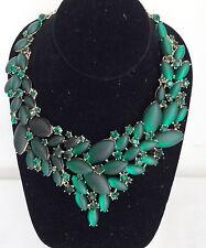 Vintage Designer Christina Collection Green Rhinestone Chunky Fancy Bib Necklace