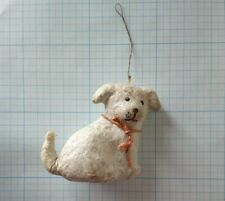 UNIQUE Antique  PUPPY DOG spun cotton Christmas ornament tree 1940s 2