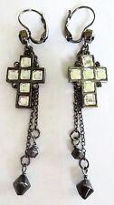 £30 Gothic Cross Black Rhodium Gunmetal Drop Earrings Swarovski Elements Crystal