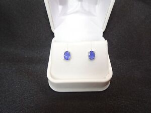 1.35 ct Natural Iolite 10K Solid White Gold Stud Earrings