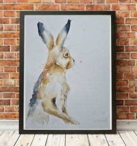 New large Elle Smith original signed watercolour art painting of a Standing Hare