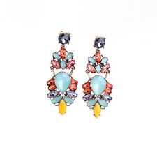 NEW -- J CREW Multi Color Teal Purple Orange Yellow Beaded Statement Earrings
