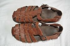 Mephisto Sam Mens US8/EU42 Brown Leather Fisherman Sandals With Buckle