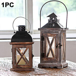 Retro Rustic Wooden Hanging Candle Holder Lantern Home Wedding Party Decor