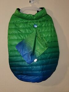 NWT Top Paw Dog Ombre Puffer Pet Jacket Coat Green Blue  Size XL w/ Storage Bag