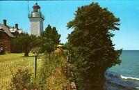 NY Postcard Dunkirk New York Point Gratiot  lighthouse vintage chrome postcard