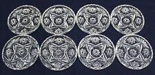 "Set of 8 Vintage Star of David EAPC pressed glass scalloped rim 3 3/4"" Coasters"