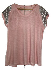 Oui, T Shirt With Sequin Shoulders, In pink, Size 12/38