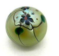 Stephen Lundberg Studios Art Glass Floral Paperweight Studios Yellow Signed 1977