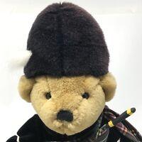 "Harrods Knightsbridge London Tartan KILT Bagpipes Plush Teddy Bear 11"" SCOTTISH"