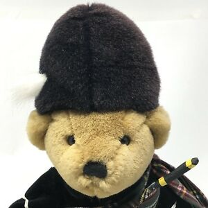 "Harrods Knightsbridge Plush Teddy Bear 11"" SCOTTISH London Tartan KILT Bagpipes"
