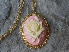 PALE YELLOW ROSE ON PEACH CAMEO GOLD TONE PENDANT NECKLACE - UNIQUE