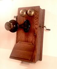 Vintage Kellogg 2812 Hand Crank Dovetailed Wooden Telephone Wood LOOK & READ
