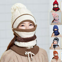 Women Beanie Hat Pom Bobble Scarf Mask Set 3pc Knitted Winter Warm Snow Ski Cap