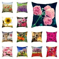 Spring Easter Vintage Flower Pillow Case Couch Waist Cushion Cover Home Decor