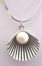 Chaîne serpent Bijou Vintage Pendentif Argenté coquillage perle blanche 3426