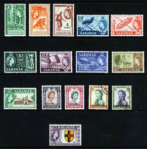 SARAWAK QE II 1955-59 The Full Pictorial Set SG 188 to SG 202 MINT ($1 & $2 VFU)