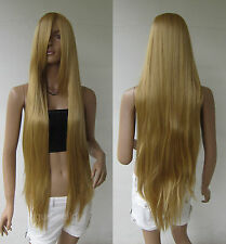 40 inch 100cm Long Bang Light Gold Blonde Straight Cosplay Wig