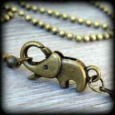 Steampunk BABY ELEPHANT necklace pendant good luck  charm Victorian Antique styl