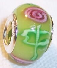Green Pink Flower Rose Murano Glass Bead Gift for Silver European Charm Bracelet