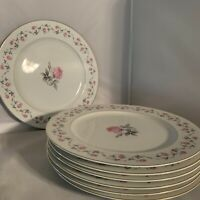 Yamato China Rose Floral Dinner Plates Dish Porcelain Japan 10 3/4 Lot Of 7