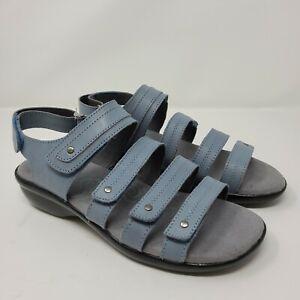 Propet Aurora Womens Leather Strap Sandals Light Blue Sz 7W US