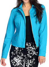 OSO Casuals® Stretch Denim Jean Zip Front Jacket Evine TURQUOISE BLUE EVINE XL