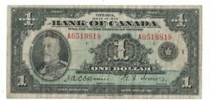1935 Bank of Canada $1 One Dollar Ottawa Osbourne Towers Currency Note HBC519818