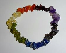 "Chakra Gemstone Chip Bracelet -Crystal Healing 7"" Energy"