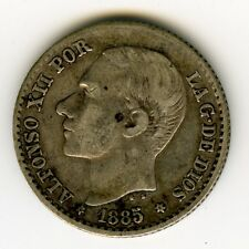☆ SPAIN 1885 • 50 CENTIMOS ALFONSO XII MS-M, SILVER COIN 50 CENTS KM# 685 ☆C1253