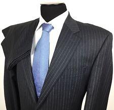 CHAPS Mens 44L/W36 Gray Blue Pinstripe 2-Button Virgin Wool Suit~Pleated Pants