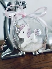 Christmas Unicorn Bauble, Personalised First Christmas Tree Decoration, Glitter