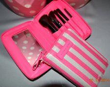 Victorias Secret Iconic Stripe Sequins Bling Travel Cosmetic Brush Set NWT