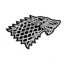 """STARK WOLF IRON ON PATCH 3.5"""" Embroidered Applique Black White Game of Thrones"""