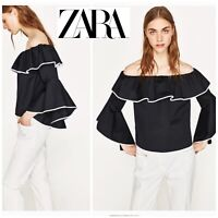 NEW Zara Women's Poplin Black And White Top Ruffle Off The Shoulder Small