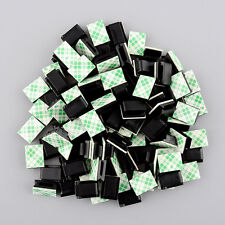 100pcs plastic Self-adhesive Rectangle holder Wire Tie Cable Mount Black