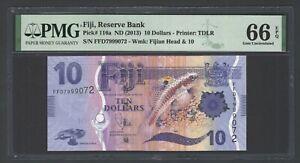 Fiji 10 Dollars ND(2013) P116a Uncirculated Grade 66