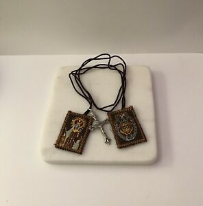 Brown Scapular embroidered panels nylon cords and Crucifix