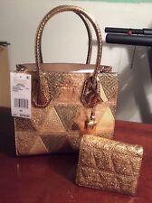 Michael Kors Studio MercerEmbossed Gold Leather Messenger Handbag & Wallet NWT