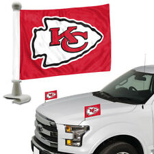 Kansas City Chiefs Set of 2 Ambassador Style Car Flags - Trunk, Hood