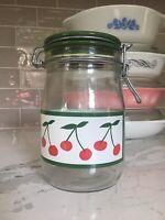 Vintage Carlton Glass Cherry Jar Clamp Lid Country Kitchen Farmhouse Storage