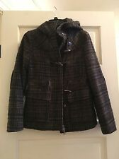 United Colors Of Benetton Women's Wool Coat Duffle/Toggle Size 38 Brown Tweed