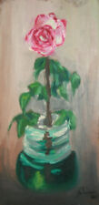 1980 impressionist oil painting floral rose still life signed